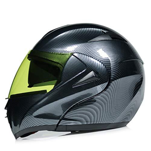 Casco De Moto Abatible Resistencia Al Impacto Cascos Integral Fibra De Carbono Lente Doble Adulto Transpirable C M ✅