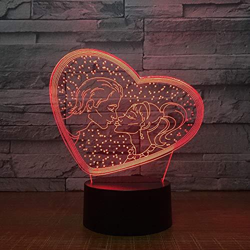 TE AMO Dulce Amante Corazón USB Romántico Novia Día de la Madre 3D LED Luz de noche Lámpara de mesa Mesita de noche Decoración Regalo de niños