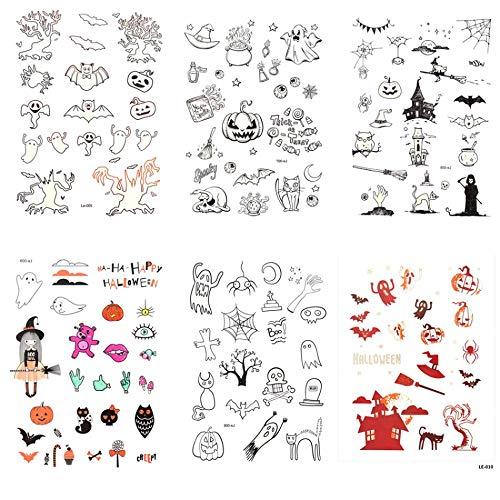GRASHINE Halloween nep tatoeages die kijken echte 6 stks Lichtgevende tattoo stickers in een pakket, het met inbegrip van spinnenweb, schedel hoofd,Pumpkin, duivel, elf, engel, heks, vleermuis, kat, enz.