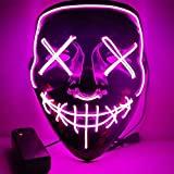 Halloween LED Glow Masque, Cosplay LED Masque Costume Masque De Fil EI, Clignotant Crâne Masque Coloré Masque Rave Couleurs Glow pour Festivals / Halloween / Noël / Bonfire Night / Party (Violet)