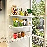 PanYFDD - Estante de cocina para montar en la pared, con soporte de acero inoxidable, 60 x 35 cm, color negro, metal, Blanco, 120 cm