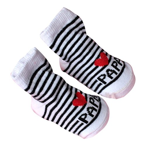 VENMO Baby Socken Baby Säugling Junge Mädchen Slip-resistente Boden Socken Liebe Mama Papa Letter Socken Alter: 0-6Monat (Gray)