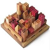 CITY, jeu casse tête en bois massif aux normes CE à partir de 10 ans difficulté 5/6. Marque française le Délirant®, grande rejouabilité: 13 villes différentes à construire ! solution illustrée fournie