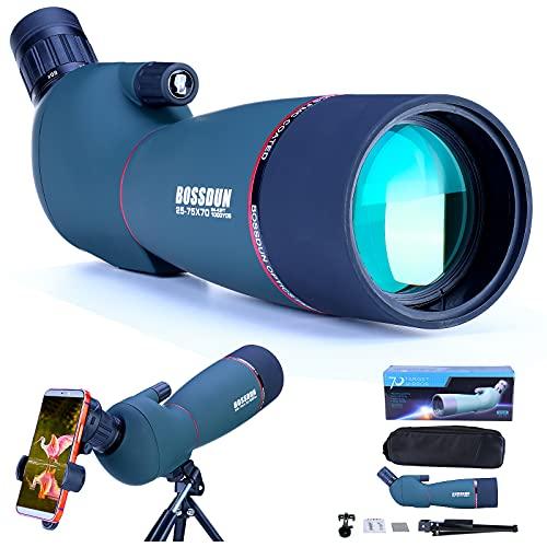 Telescopio Terrestre 25-75x70 HD con Trípode, Bolsa de Transporte y Adaptador de Teléfono Inteligente para Observación de Aves, Observación de Estrellas, Tiro con Arco, Paisaje de Vida Silvestre