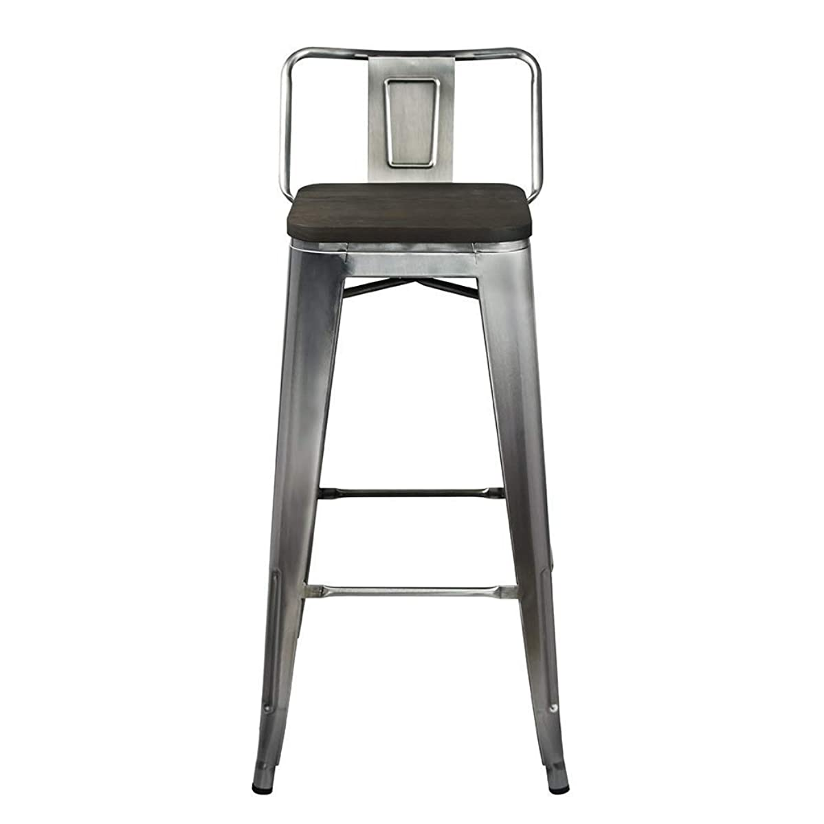 GIA 30-Inch Low Back Stool with Wooden Seat, Gunmetal/Dark Wood, 2-Pack