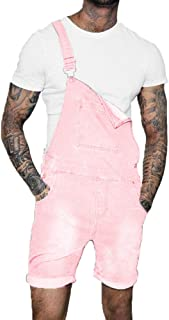 QitunC Mens Dungaree Shorts Overalls Bib Overall Shorts Denim Jeans Rolled Hem with Pockets