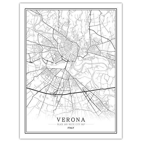 SKYROPNG 1000 Teile Erwachsene Puzzle,Italien Verona Stadtplan, Personalisierte DIY-Spiele, Große Kunst 3D-Rätsel, Pädagogische Intellektuelle Logik Puzzle, Kreative Lustige Geschenk, Dekoration