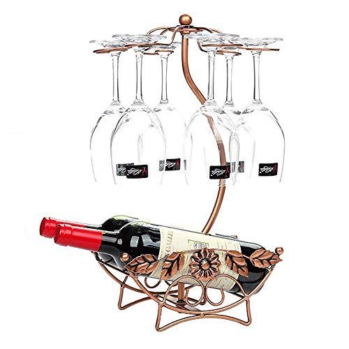 LHQ-HQ Colgando Vino Titular vidrio artístico pantalla de mesa for la barra casera 6 enganchan el sostenedor del vidrio de vino del soporte for copas Tendedero for Bar Restaurante (Color: bronce, tama