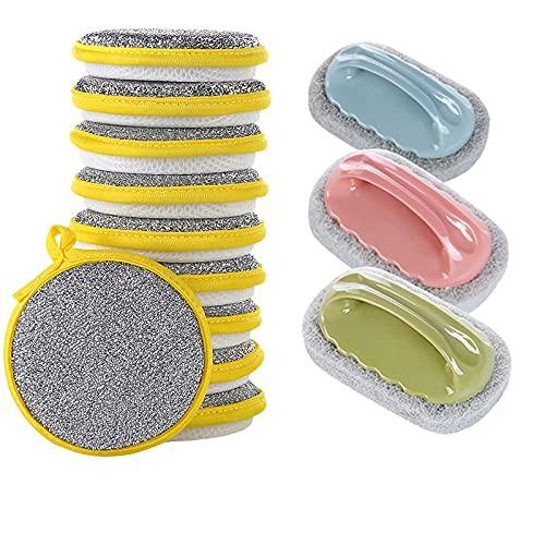 SqSYqz 10 esponjas de Doble Cara Que no se Rayan con cordón,3 cepillos de Cocina para Azulejos,Almohadilla de Esponja de Cocina Suave Reutilizable para Lavar Platos,Limpiar baños y cocinas