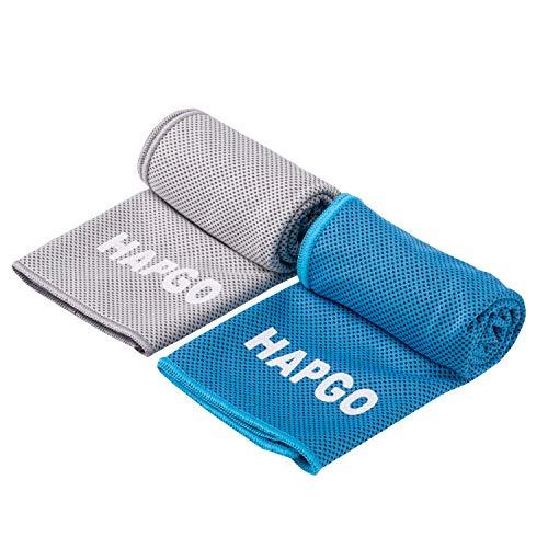 【HAPGO 2021最新版】2枚セット 冷却タオル ひんやりタオル 冷たいタオル アウトドア 熱中症対策 UVカット 軽量薄型 速乾速冷 防臭抗菌 防水袋付き100x30cm ((灰・藍), 2枚セット)