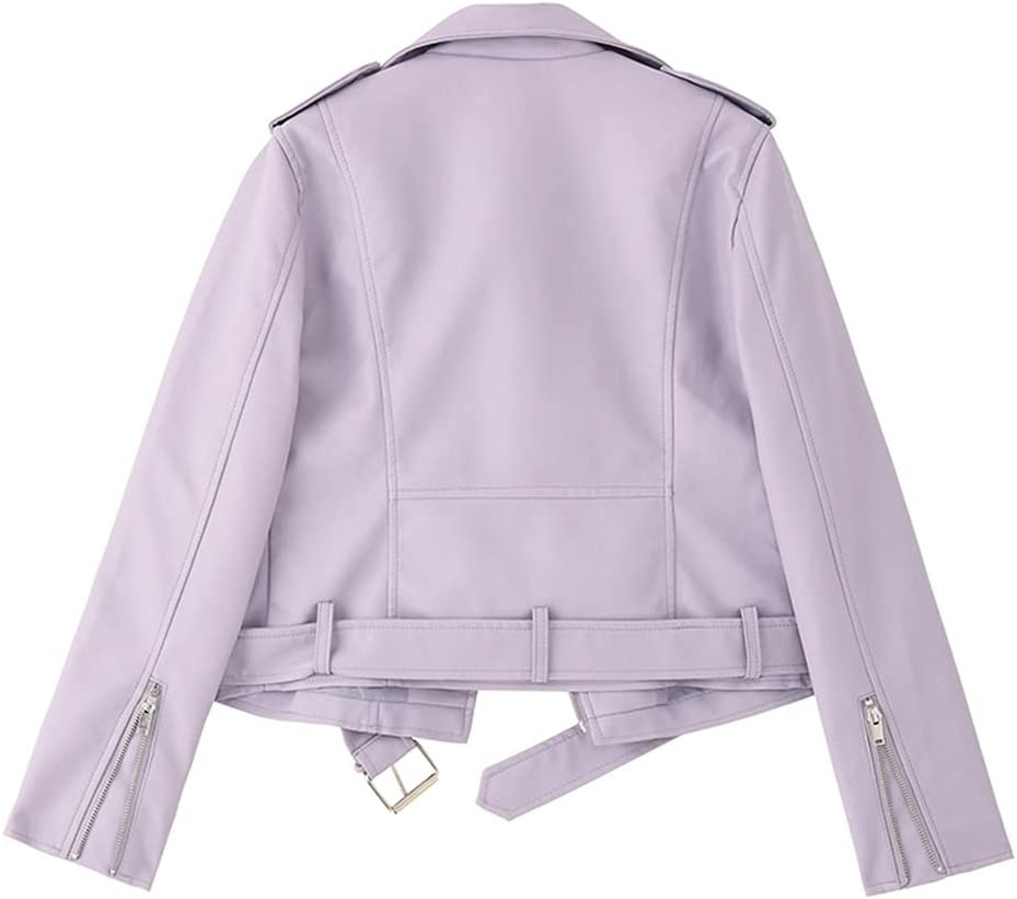 JJZXC PU Faux Leather Jacket Women Slim Sashes Casual Biker Jackets Outwear Female Tops Black Lavender Leather Jacket Coat (Color : Purple, Size : S code)
