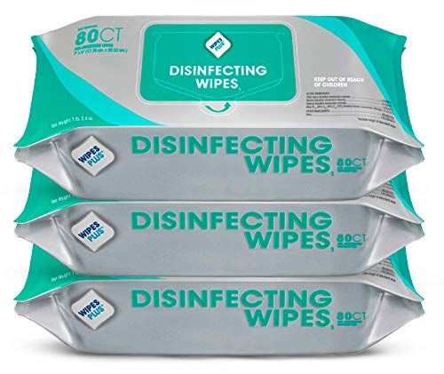 WipesPlus Disinfecting Wipes (240 Total Wipes) - 3 Packs of 80 Industrial Strength Sanitizing Wipes - 80 Disinfectant Wipes per Pack - Made in the USA
