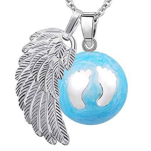 """BOLA Collar de embarazo colgante campana Harmony Ball""""Llamador de ángeles"""" Joya musical para embarazadas de maternidad con cadena de alas de ángel y bola (88 CM, BLEU.2-ARGENT)"""