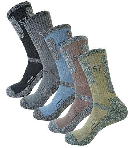 SEOULSTORY7 5Pack Men's Bio Climbing DryCool Cushion Hiking/Performance Crew Socks 5Pair Medium