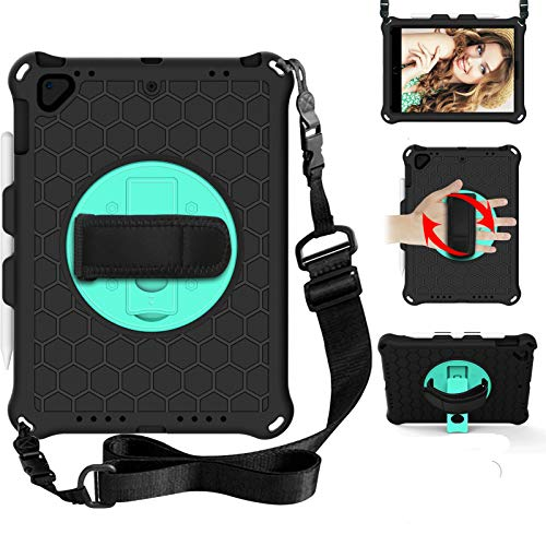 BAUBEY Case for iPad Air 2/iPad 9.7 2017/2018/Pro 9.7, iPad 5th/6th Generation Case,Drop & Shockproof Hybrid Case with 360 Rotating Stand Hand Strap Shoulder Strap Kids Tablet Cover (Black+Aqua)