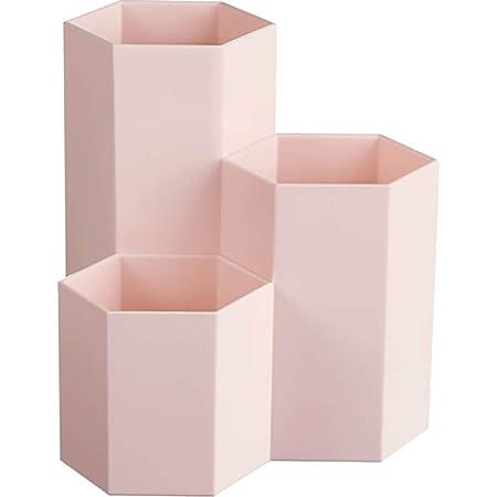 AhfuLife Creative Multifunction Hexagon Makeup Brush Vase Brush Pot Pen Holder Stationery Storage Pen Container Desk Decoration (Pink)