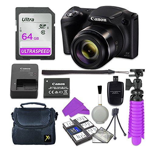 Canon PowerShot SX420 is Digital Camera (Black) with 64GB SD Memory Card + Accessory Bundle