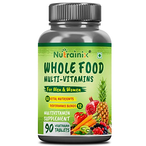 Nutrainix Whole Food Multivitamin for Men & Women with 50 Vital Nutrients, 12 Performance Blends, Natural Vitamins, Vegetarian Tablets, 90 count