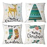 Gspirit 4 Pack Feliz Navidad Árbol Ciervo Invierno Algodón Lino Throw Pillow Case Funda de Almohada para Cojín 45x45 cm