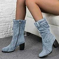 ブーツ女性ミッドカーフブーツジッパーハイヒール女性ブーツレディースブーツシューズ,P1,40