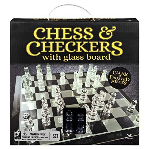 チェス&チェッカーセット 9インチのガラスボード付き