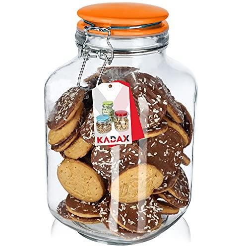 KADAX Tarro para especias de cristal, tarro con tapa de cerámica, tarros para especias con cierre de clip, tarro con gancho de alambre, tarros de almacenamiento con alambre (2,8 l naranja).