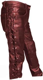 بناطيل جلدية للرجال من Qiufuyoupk سوداء اللون، سراويل رجالية طويلة XL كلاسيكية مناسبة للحفلات التنكرية والحفلات التنكرية (...