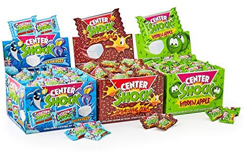 Center Shock Mix: 3 Boxen mit 100 Kaugummis, Splashing Cola, Hidden Apple, Ocean Reef, extra-sauer, Cola, Apfel, Wassermelone und Himbeere