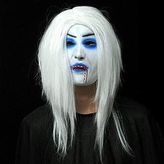 Halloween Mask/Scary Latex Fear Face Mask/White Hair Bleeding Mask/Halloween Woman Mask happyL