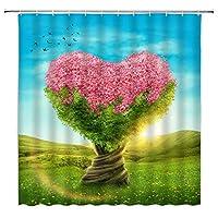 JOOCAR 愛の木フック付きシャワーカーテン生地バスルーム装飾耐久性のある防水生地バスルームカーテン 180cm x 180cm