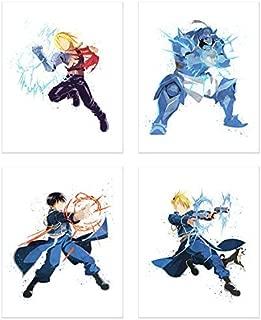Crystal Watercolor Fullmetal Alchemist Brotherhood Poster Prints - Set of 4 (8x10) Minimalist FMA Shonen Anime Fanart Wall Art Decor - Edward Elric - Alphonse Elric - Roy Mustang - Riza Hawkeye