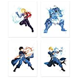 Crystal Watercolor Fullmetal Alchemist Brotherhood Poster Prints - Set of 4 (8x10) Minimalist FMA Shonen Anime Fanart Wall Art Decor - Edward Elric - Alphonse Elric - Roy Mustang - Riza Hawkeye