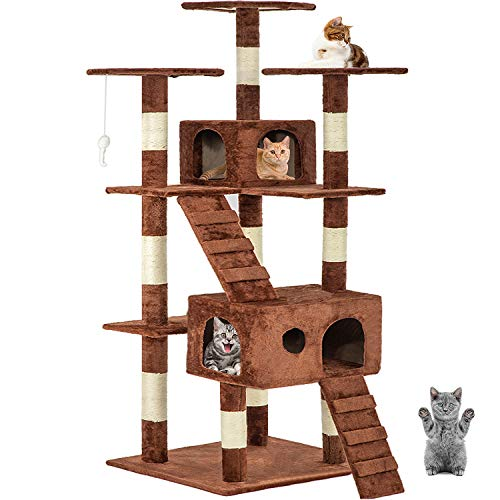 """Brown 72"""" Cat Tree Scratcher Play House Condo Furniture Bed Post Pet House"""
