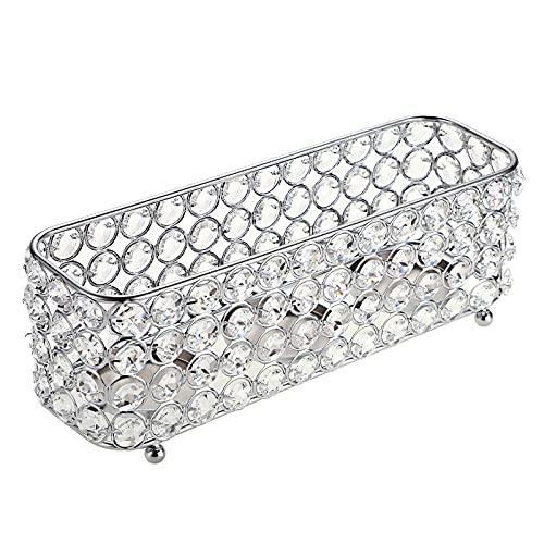 BSTKEY Candelabro decorativo de cristal para mesa de centro de mesa, candelabros votivos con 3 bandejas de velas para decoración, color plateado