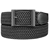 Bluecton Plus Size Belt Elastic Stretch Woven Braided Belt for Men/Women Big and Tall Black Square Business Buckle Size 55''