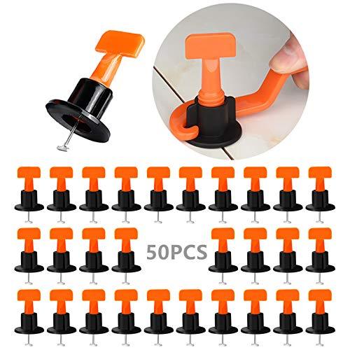 DQTYE - Juego de 50 niveladores de azulejos con llave especial de nivelación de baldosas para edificios de paredes, suelos, herramientas de construcción reutilizables