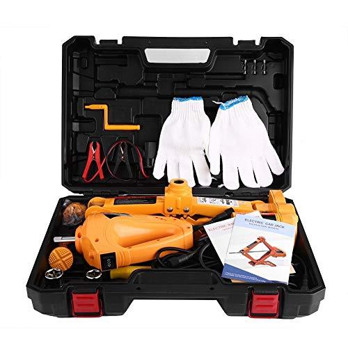 Autokrik, 3-kleurig, 12 V, DC elektrische autokrik, hefbrug, elektrische schaar, jack, auto, vrachtwagen, SUV, nooduitrusting, met pneumatische sleutel