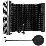 microfono isolamento shield mic fonoassorbente schiuma insonorizzata copertura in plastica microfono insonorizzata schermo nero cinque porte con microfono pop filter