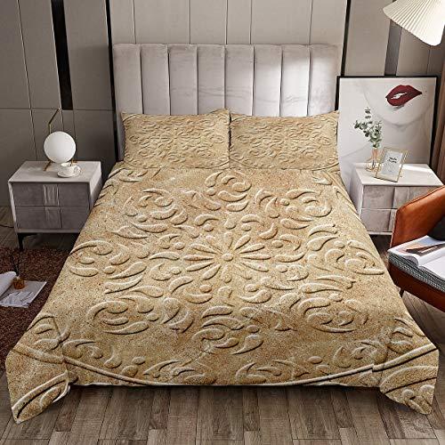 Loussiesd Juego de ropa de cama con patrón de damasco para...
