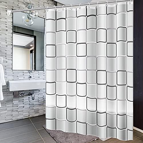 Wasserdicht Duschvorhang, 200 x 200 cm Antibakteriell Duschvorhang Badvorhänge Badvorhang Duschvorhänge Waschbar Shower Curtains mit 14 Duschvorhängeringen, für Dusche & Badewanne (1)