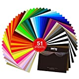 Heat Transfer Vinyl,Easy Weed HTV Bundle 12'x10' 51 Sheets PU Adhesive Iron On Vinyl for T-Shitr(44 Assorted Colors)
