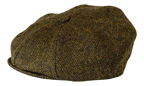 Gamble & Gunn Casquette boutonnée en tweed britannique. - Vert - Large