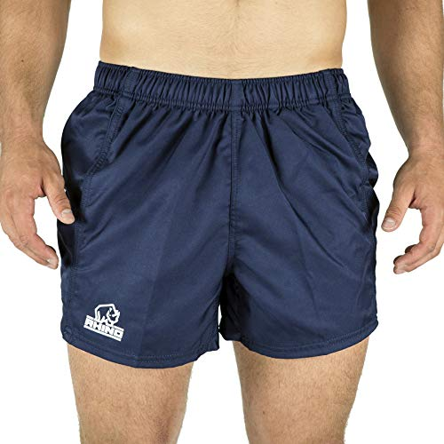 RHINO RUGBY | Performance Game Shorts | Mens Athletic Short | 100% Polyester | Fitness Training and Sport Apparel | Navy | Size M (30)