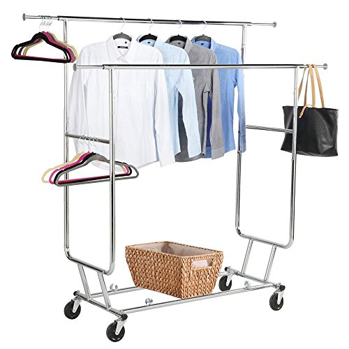 Yaheetech Commercial Clothing Garment Rack Rolling Collapsible Rack Hanger Holder Heavy Duty Double Rail Clothes Rack Extendable Clothes Hanging Rack 2 Omni-directional Casters w/Brake,250 lb Capacity
