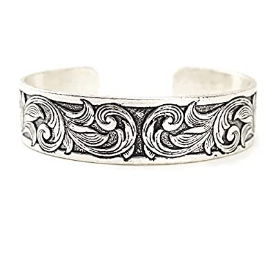Wyo-Horse Jewelry Thin Western Tooled Cuff Bracelet - Copper, Silver or Patina Finish (Patina)