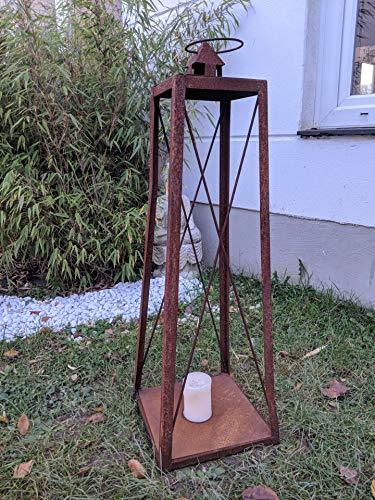Zen Man Edelrost tuin lantaarn kaarshouder van metaal roest woningdecoratie tuindecoratie 28 * 28 * H70cm