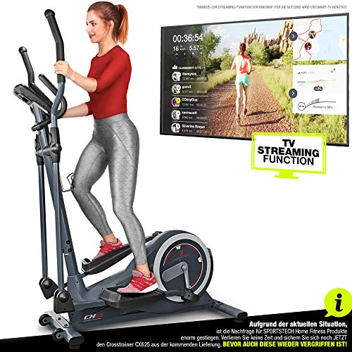 Sportstech Crosstrainer für Zuhause | Deutsches Qualitätsunternehmen | Video Events & Multiplayer App | 24 kg Schwungmasse | 22 Programme & HRC Mode | Fitness Heimtrainer CX625 inkl. Tablethalterung