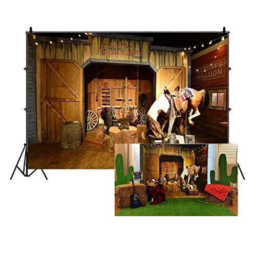 LFEEY 2,1 x 1,5 m alter wilder Westenstall Hintergrund Texas Western Cowboy Pferd in Scheune Amboss Baumstamm Laterne Sattel Mews Fotografie Hintergrund Reise Party Events Foto Studio Requisiten