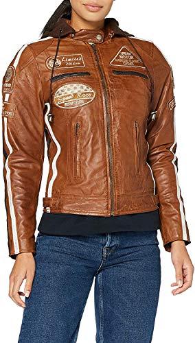 Urban Leather UR-189 Chaqueta Moto Mujer de Cuero '58 LADIES', Armadura Removible para Espalda, Hombros y Codos Aprobada por la CE, Tan, 3XL