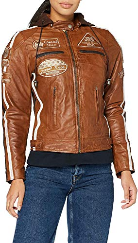 Chaqueta Moto Mujer de Cuero Urban Leather '58 LADIES' | Chaqueta Cuero Mujer | Cazadora Moto de Piel de Cordero | Armadura Removible para Espalda, Hombros y Codos Aprobada por la CE |Tan | 5XL